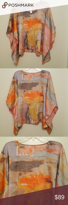 CHICO'S  Picasso Polyester women's top. Very flowy, loose fit.   Colora: gray, orange, pink, peach, yellow, dark gray, Gold, streaks of some red Chico's Tops Blouses