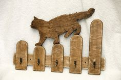 Handmade cat shaped wooden key holder, hooks, wall mounted, home decor, silhouette