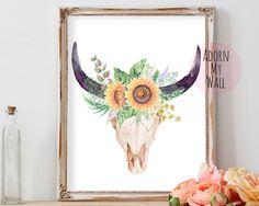 Bull skull print, tribal printable, bull skull,instant download,bull skull art,printable art,bull skull wall art,skull print,skull printable by AdornMyWall on Etsy