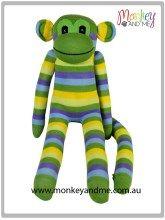 Green Yellow Blue thin Sock Monkey  Adopt over at monkeyandme.com.au #sockmonkeys #gifts #toys