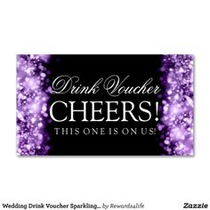 Wedding Drink Voucher Sparkling Lights Purple Business Cards
