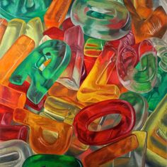 I really like this painting. I like this because the artist has looked at the sweets that are much more vibrantly coloured and are much more of them. I like this idea of using the gummy letters as you could either place them into any jumble order or I could place them into certain words or phrases. I like that all of the letters slot together and land in a big heap.