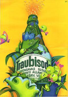 Vertel Beatrix - Traubisoda, 1976 Restaurant Pictures, Illustrations And Posters, Vintage Posters, Retro Posters, Some Pictures, Vintage Advertisements, Travel Posters, Old Photos, Retro Vintage