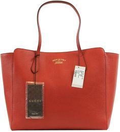 c094cad28f06 Gucci Handbag Women Medium Red Textured Leather Trademark Logo Swing Tote  Purse #Gucci #ShoulderBag