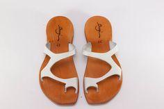 Gorgeous!!!/ 20% Sale White Leather Women SandalsAsymmetric  by BangiShop, $55.00