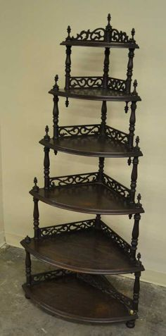 Antique Furniture Antique Edwardian Mahogany Wall Mounted Shelves Whatnot Collectors Shelving