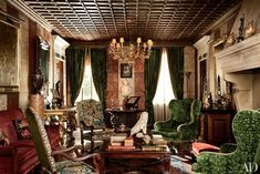 Studio Peregalli transformed Villa Bucciol, a home in the town of Oderzo, near Venice. Facing the living room's fireplace are a pair of armchairs dressed in arras tapestry; a gilt-wood chandelier hangs above, and an antique Oushak covers the floor. Architectural Digest, Decoration Bedroom, Decoration Design, Rome Apartment, Apartment Interior, Room Interior, Italian Home, Italian Farmhouse, Italian Lifestyle