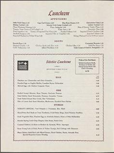 1969 Oak Room menu from the Plaza Hotel