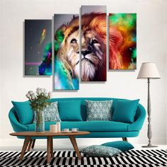 Pinturas A óleo Da Lona Abstrata Barato Leão Animais Coloridos de Parede Arte Decoração Para Casa Pictures Parede Pictures Para Sala de estar (4 PCS)