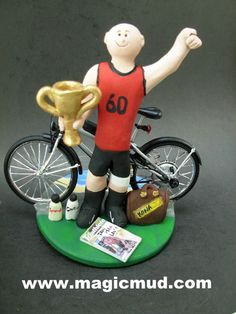 Athletes Birthday Gift Personalized for Dad by www.magicmud.com 1 800 231 9814 creating a custom made gift figurine for Dad based on the things he likes to do! ...incorporating his work, sports, family, hobbies, food, drink, electronic gadgets, etc. $225 #dad #men #guys #christmas #birthday #anniversary #custom #personalized #xmas #present #award #ChristmasGift #BirthdayGift #husband #boyfriend #uncle #cyclist #bikes
