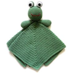 "Frog Security Blanket  PDF Crochet Pattern  Instant Download ~ just like ""Kermit"" ~ crocheted in round so there are no seams in blanket or frog ~ easy level ~ finished size 15""L frm top of frog head to lower edge of blanket ~ CROCHET"