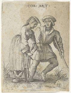 Cornelis Massijs | Kreupel paar gekleed als burgers, Cornelis Massijs, after 1538 - before 1577 | Een man met een baret op het hoofd, leunend op een kruk, houdt de hand vast van een vrouw, die op een stok leunt. Zij gaan gekleed als burgers.