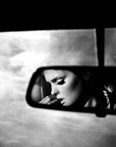 One of the few times I've seen a car mirror image done right Black N White, Black White Photos, Black And White Photography, Portrait Photography, Fashion Photography, Sequence Photography, Film Noir Photography, Foto Pose, Car Mirror