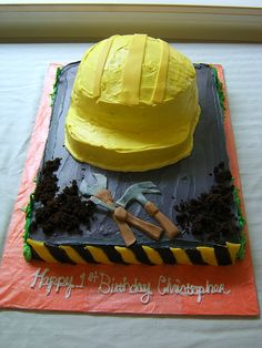 Josh and Sam have a bit of an obsession with Bob the Builder, so I'm thinking about making a hard hat cake for their second birthday.