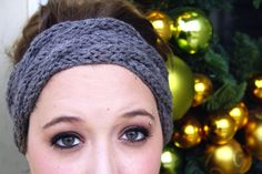 Cable Knit Winter Headband in Gray