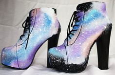 Space Galaxy High Heels - Hand painted Galaxy Litas heels teal and lilac #galaxy #heels www.loveitsomuch.com