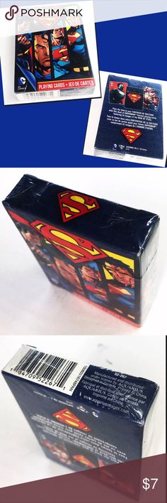DC Comics Superman Playing Cards by Aquarius DC Comics Superman Playing Cards (Blue) by Aquarius NEW & SEALED  Product description Pass the time in your Fortress of Solitute with this deck of Superman themed playing cards, featuring 52 images of the Man of Steel.  From the Manufacturer This pack of playing cards is sure to satisfy any Superman fan. Packed with 52 different images of the Man of Steel, you'll have lots to talk about during those hot & heavy poker games. aquarius Other