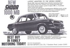 1964 British advertisement for the Skoda 1000 MB. The 1000 MB was widely exported, and in Britain it cost only despite having deluxe features. Vintage Logos, Car Posters, Motor Car, Vw, Britain, Automobile, Advertising, Signs, Cars