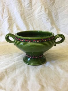 Vintage Green Gmundker Keramik Austria Handled Compote with a