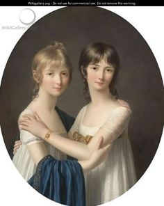 """Portrait Of Two Sisters, Half Length, Wearing White Dresses"" oil on Canvas by Marie-Victoire Lemoine"
