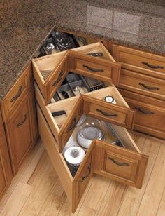 40+ Organization and Storage Hacks for Small Kitchens --> DIY kitchen corner drawers #tips #organization #storage