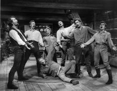 SEVEN BRIDES FOR SEVEN BROTHERS (1954), directed by Stanley Donen.  Milly agrees to marry Adam Pontipee, only to discover that he has six rowdy, ill-behaved younger brothers ~ all over 6-feet tall & red-headed.  She sets out to teach Benjamin, Caleb, Daniel, Ephriam, Frank (short for Frankincense ~ the Old Testament having no names beginning with F), and Gideon manners & social mores, so that they can find themselves brides too.
