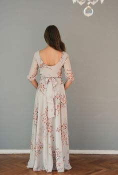 Floral print maxi chiffon dress with scoop back by NelliUzun on Etsy https://www.etsy.com/listing/211446367/floral-print-maxi-chiffon-dress-with