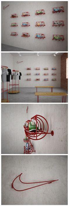 Nike Store Retail Design Amalia, curiosa colocación de los productos Nike, además hay poca variedad de productos