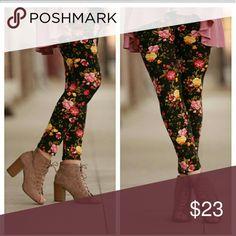 Black Floral print leggings Floral print leggings. Fits 2-12 comfortably. Infinity Raine Pants Leggings