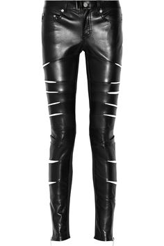 Saint Laurent | Slit-detailed leather pants | NET-A-PORTER.COM
