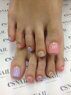 Uñas pies colores pastel