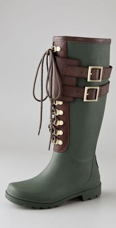 I generally hate rain boots, but these are cute.Tory Burch Buckle Rain Boots would be in stile around the barn for sure ; Oxfords, Bootie Boots, Shoe Boots, Estilo Rock, Pin On, Rain Gear, Shoe Game, Fashion Boots, Rubber Rain Boots