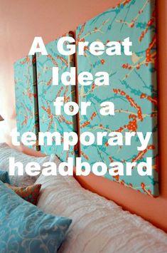 diy Headboard alternative - Quick and Easy Temporary Headboard - Create and Babble Canvas Headboard, Headboard Ideas, Headboard Cover, Headboard Designs, Queen Headboard, Photo Headboard, Tall Headboard, Gaudi, Bedroom Art Above Bed