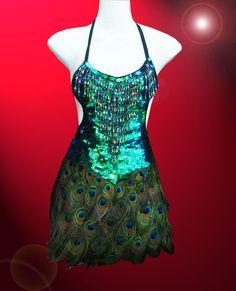 Peacock Feather Showgirl Drag Queen Samba Cabaret Latin Salsa Dance Sequin Dress