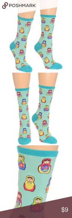 """Matryoshka Nesting Dolls Crew Socks Brand New with Tags. Add some sweet style to your favorite outfit with these adorable calf-high socks! These awesome socks feature a colorful all-over Matryoshka Russian Doll print against a misty aqua background. Other darling details include teal toe and heel caps, and a band of teal trim at the tops. * One size fits most * 7.5"""" tall (from heel to top) * 63% Cotton, 34% Nylon, 3% Spandex Socksmith Accessories Hosiery & Socks"""