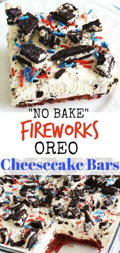 """No Bake Fireworks Oreo Cheesecake Bars adds a little spark to lusciously creamy Oreo Cheesecake Bars. Made with Fireworks Oreos that include a surprise """"poppingly good"""" center that will light up your Fourth of July with lots of fun and delicious flavor. Patriotic Desserts, 4th Of July Desserts, Desserts For A Crowd, Summer Desserts, Holiday Desserts, No Bake Desserts, Easy Desserts, Delicious Desserts, Dessert Recipes"""