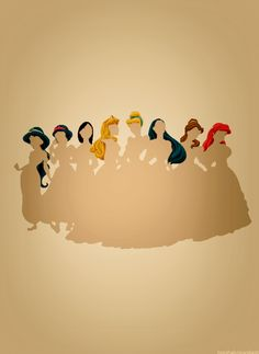 unrealistic expectations about hair Cinderella is in the middle? She has the worst hair. And where is Rapunzel??
