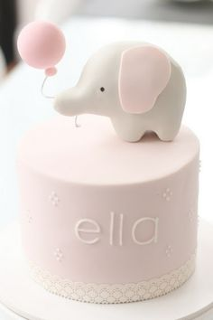Pink Elephant Girl Baby Shower Cake from hello naomi: girl themes - sweet simple Adorable! Baby Cakes, Baby Shower Cakes, Cupcake Cakes, Smash Cakes, Sweets Cake, Elephant Baby Shower Cake, Pretty Cakes, Cute Cakes, Beautiful Cakes