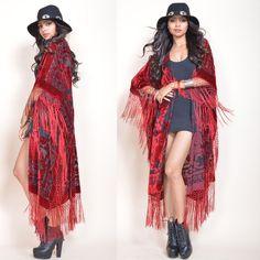 Sheer Silk Burnout Velvet Fringe Hippie Boho Gypsy Cape Kimono Jacket Red Hot by SaldanaVintage on Etsy https://www.etsy.com/listing/232047641/sheer-silk-burnout-velvet-fringe-hippie