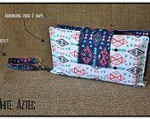 """White Aztec"" Nappy Clutch A$28.00 plus postage  (Nappy Clutch / Diaper Clutch / Nappy Wallet / Diaper Wallet)"