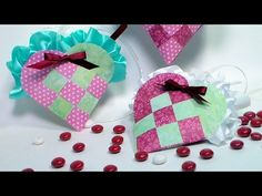 Woven Paper Heart Pocket Filled With Candy -- great for kids to do for Valentine's day -- also perfect for scraps
