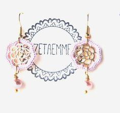 Dangly rose earrings with pearl  Lilac rose earrings by zetaemme