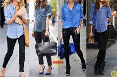 Camisa Jeans e Calça Preta