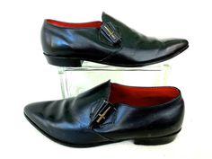 19de3c8c2fb Vintage CROSS SWORD Black Leather Shoes Beatles Dress Shoes Steampunk  Rockabilly Monk Style Hollywood Glam 60 s Mens Size 11 E
