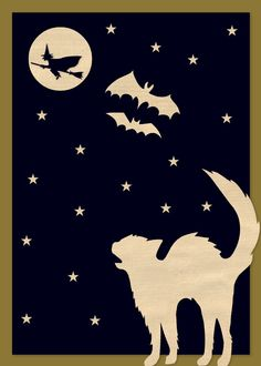 Design your own holiday cards with the Martha Stewart Craft Studio app for iPad. Halloween Quilts, Halloween Crafts For Kids, Halloween Decorations, Halloween Horror, Halloween Cat, Holidays Halloween, Martha Stewart Halloween, Old Greeting Cards, Halloween Silhouettes
