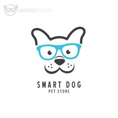ABOUT Cute illustrated dog with glasses waiting for you, perfect for your pet-related business! This design is a pre-made, non-exclusive | Logo, Glasses, Smart, Graphic Design, Intelligent, Animal, Pet, Whimsical, Vet, Store, Clinic