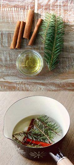 Haz que tu hogar se sienta y huela a temporada navideña, solo necesitas: un recipiente, canela y aceite de jojoba, puedes agregar ramas de pino y clavo.