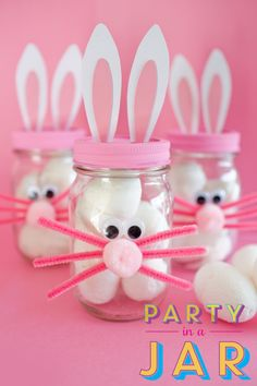 Bunny made out of baby food jar- PARTY IN A JAR