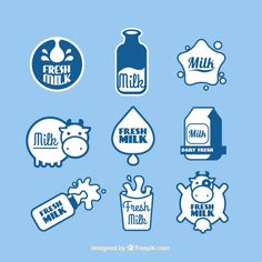 Set of fresh milk stickers Free Vector Milk Packaging, Bottle Packaging, Packaging Design, Milk Art, It Cv, Milk Brands, Illustration Story, My Dairy, Drink Labels