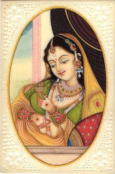 Mughal Paintings, Persian Miniatures, Rajasthani art and other fine Indian paintings for sale at the best value and selection. Rajasthani Miniature Paintings, Rajasthani Painting, Rajasthani Art, Mughal Paintings, Indian Art Paintings, Madhubani Art, Madhubani Painting, Indian Women Painting, Indian Folk Art